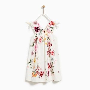 Zara girls white floral dress with bows